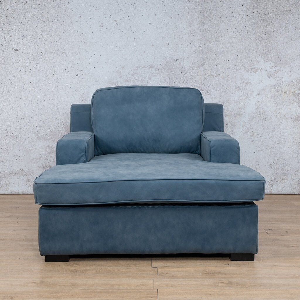 Arizona Leather Couch | Chaise 2 Arm | Flux Blue | Leather Gallery