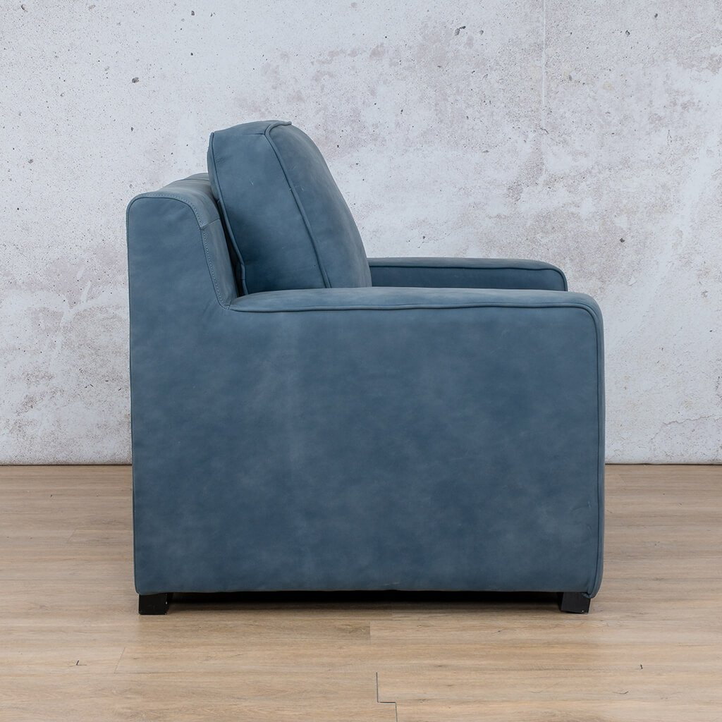 Arizona Leather Couch | 1 seater couch | Flux Blue | Side | Couches for Sale | Leather Gallery Couches