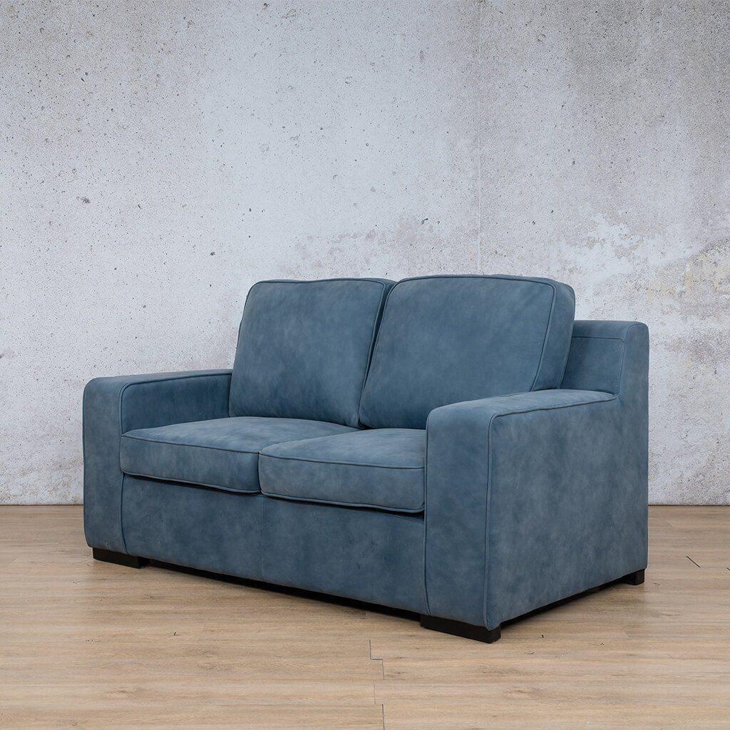 Arizona Leather Couch | 2 seater couch | Flux Blue | Front Angled | Couches for Sale | Leather Gallery Couches