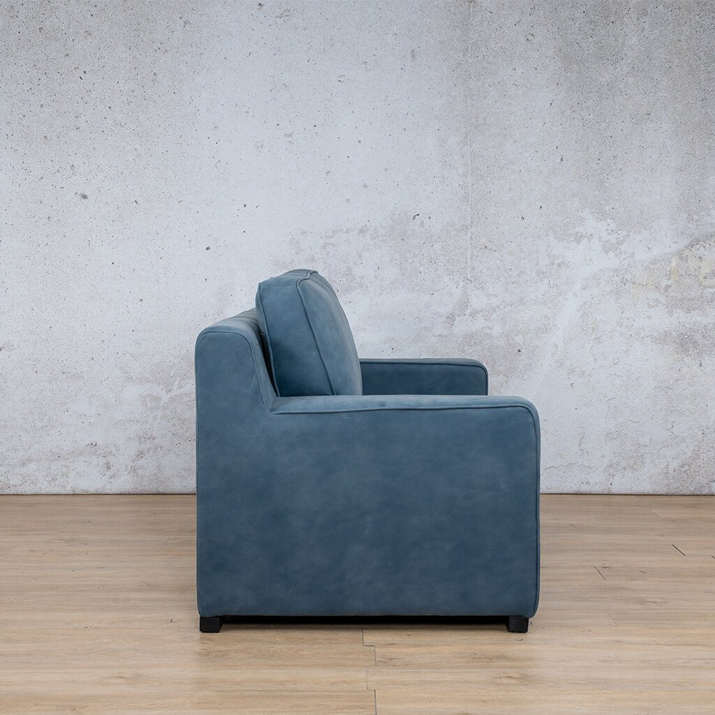 Arizona Leather Couch | 2 seater couch | Flux Blue | Side |Couches for Sale | Leather Gallery Couches