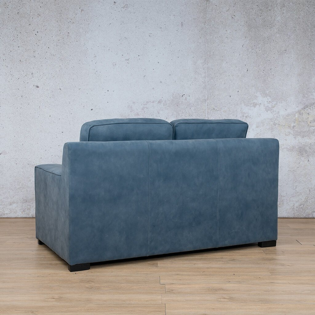 Arizona Leather Couch | 2 seater couch | Flux Blue | Back Angled | Couches for Sale | Leather Gallery Couches