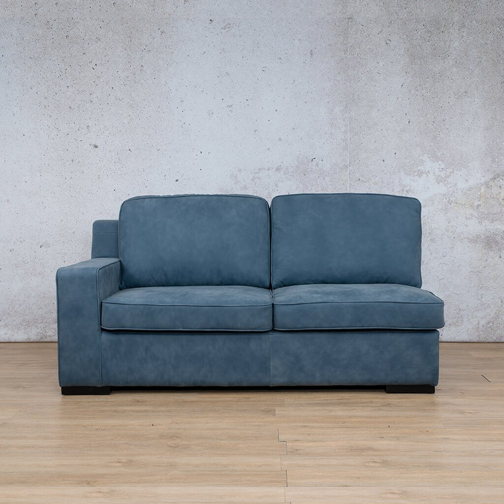 Arizona Leather Couch | 2 Seater Right Arm | Flux Blue | Leather Gallery