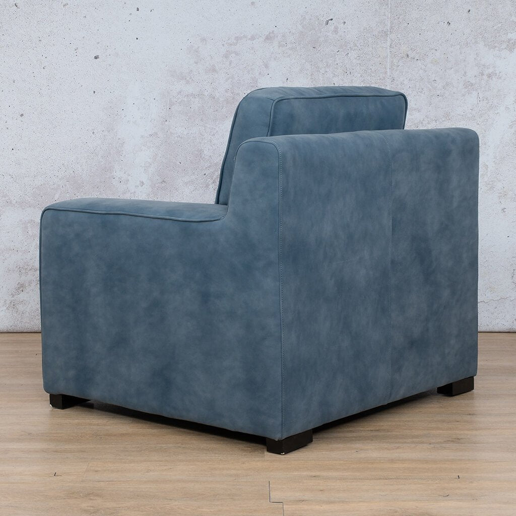 Arizona Leather Couch | 1 seater couch | Flux Blue | Back Angled | Couches for Sale | Leather Gallery Couches