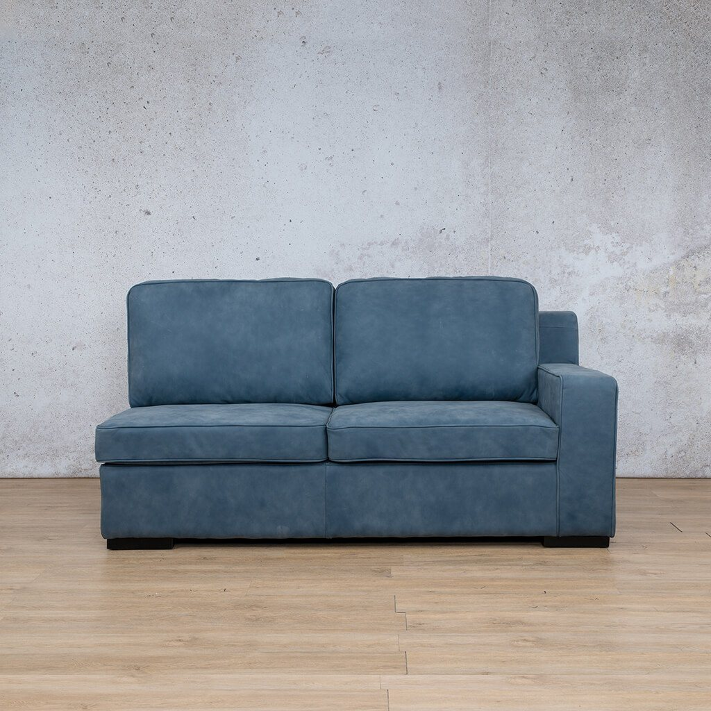 Arizona Leather Couch | 2 Seater Left Arm | Flux Blue | Leather Gallery