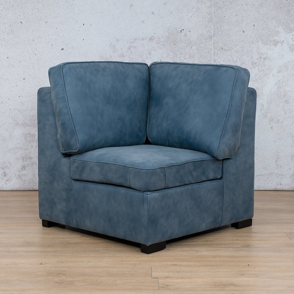 Arizona Leather Couch | Corner | Flux Blue | Leather Gallery