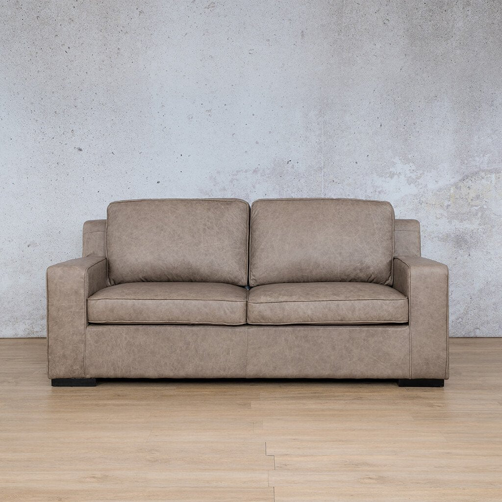Arizona Leather Couch | 3 Seater | Bedlam Taupe | Leather Gallery