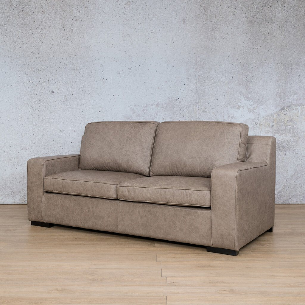 Arizona Leather Couch | 3 seater couch | Bedlam Taupe | Front Angled | Couches for Sale | Leather Gallery Couches