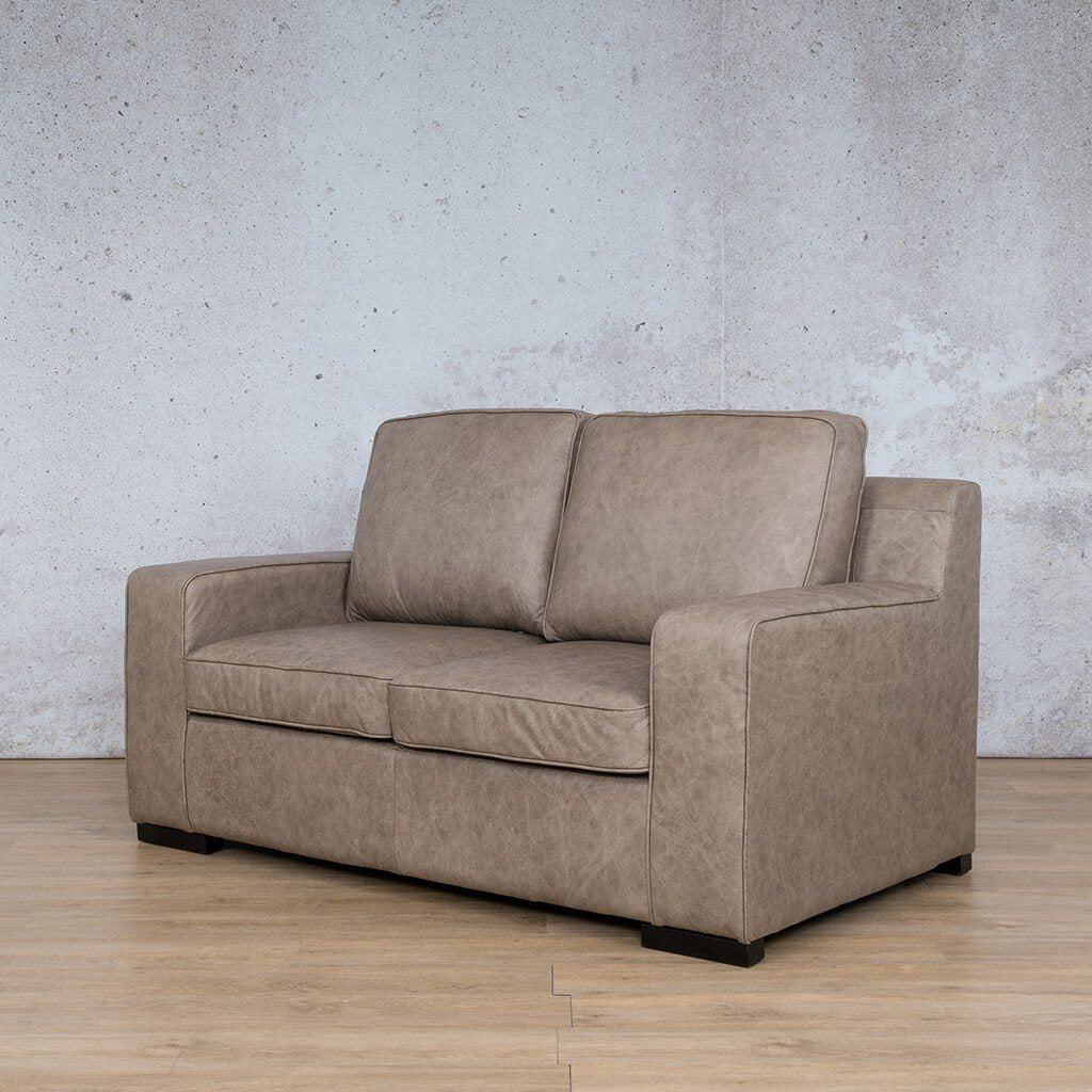 Arizona Leather Couch | 2 seater couch | Bedlam Taupe | Front Angled | Couches for Sale | Leather Gallery Couches