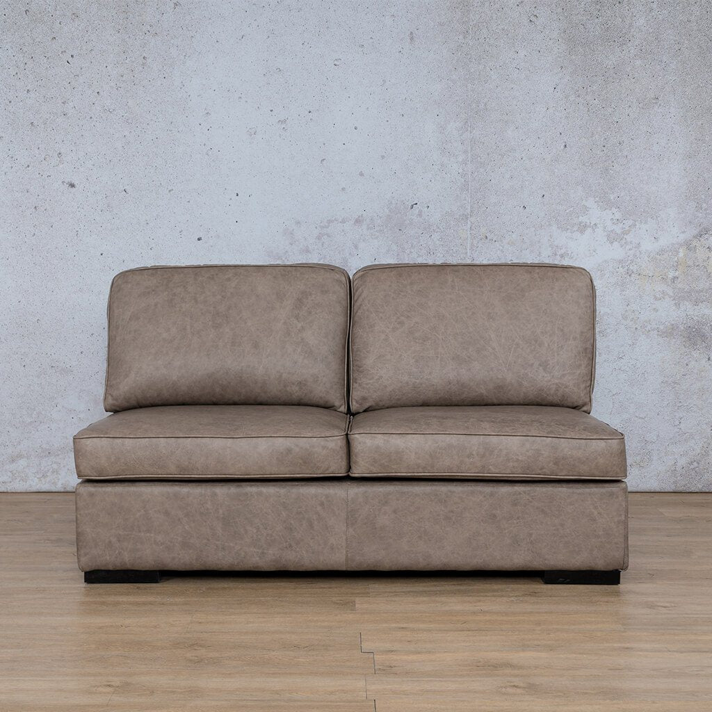 Arizona Leather Couch | Armless 2 Seater | Bedlam Taupe | Leather Gallery