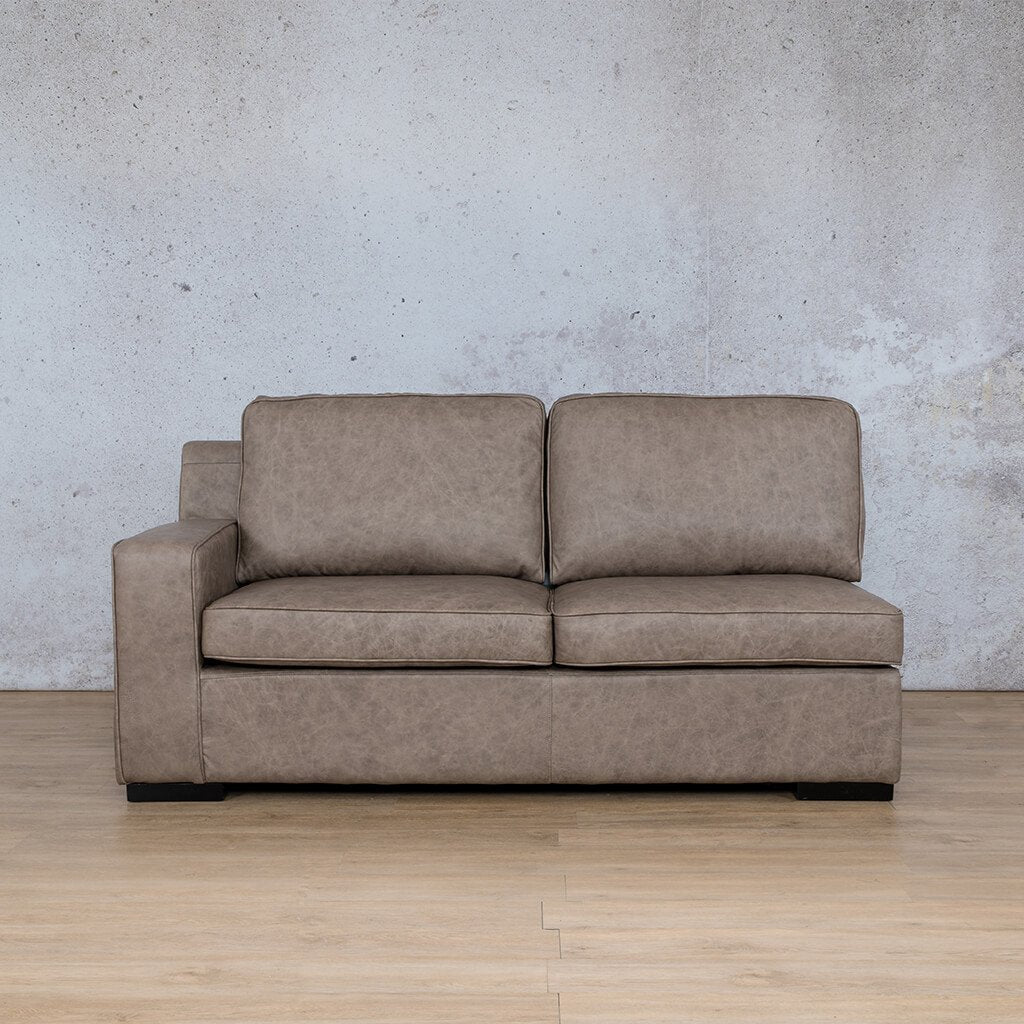 Arizona Leather Couch | 2 Seater Right Arm | Bedlam Taupe | Leather Gallery