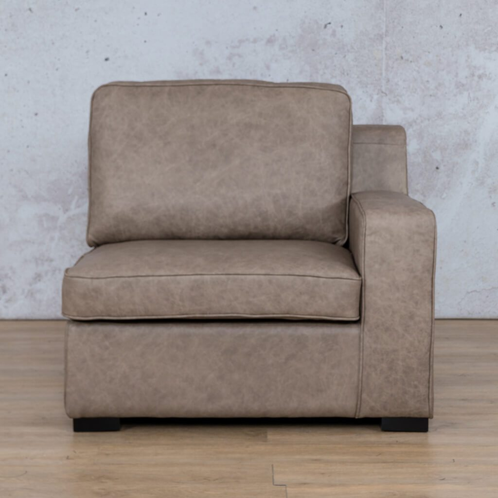 Arizona Leather Couch | 1 Seater Left Arm | Bedlam Taupe | Leather Gallery