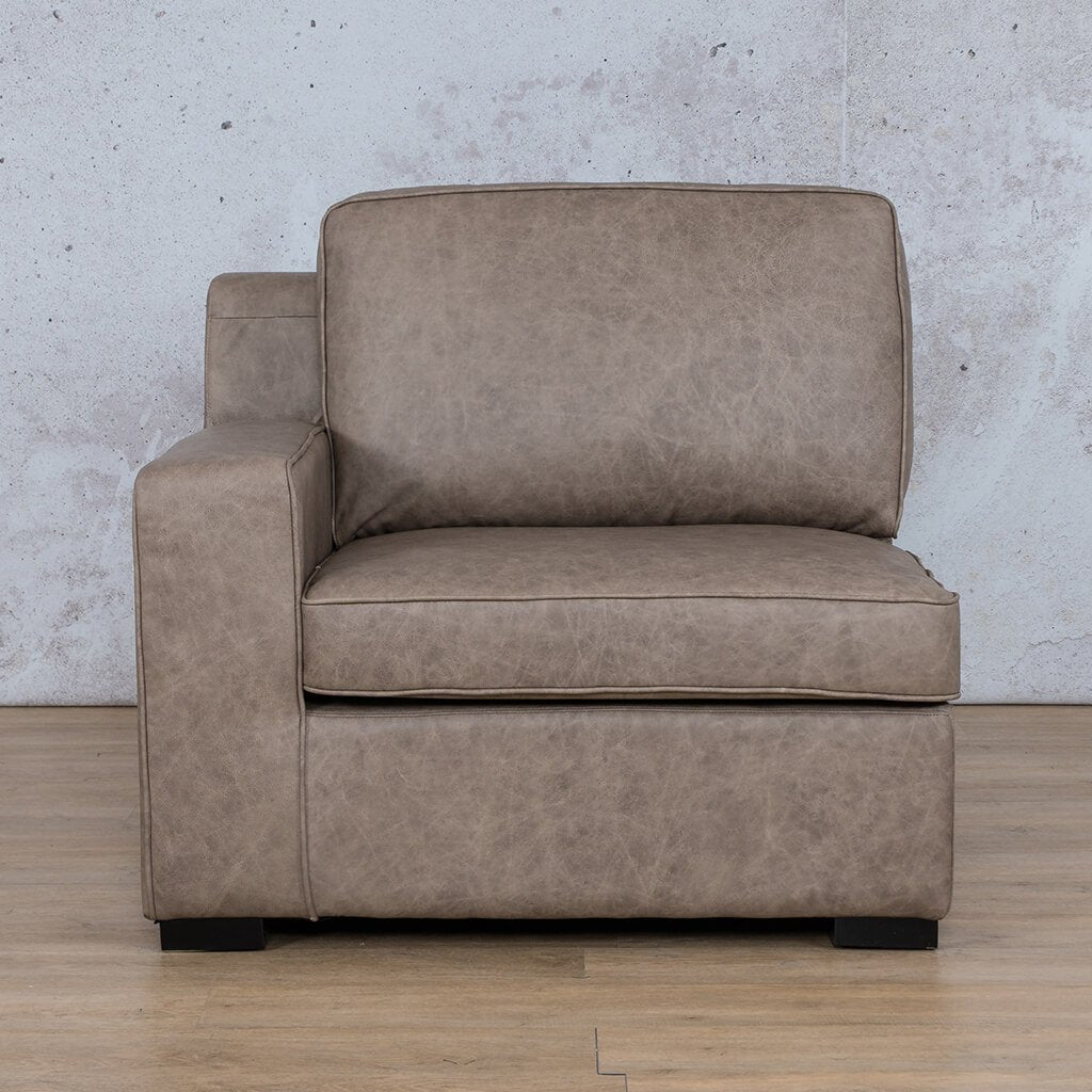 Arizona Leather Couch | 1 Seater Right Arm | Bedlam Taupe | Leather Gallery