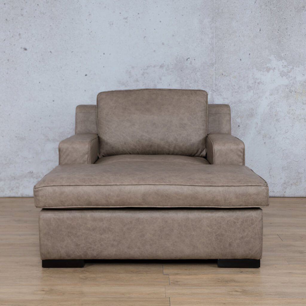 Arizona Leather Couch | Chaise 2 Arm | Bedlam Taupe | Leather Gallery