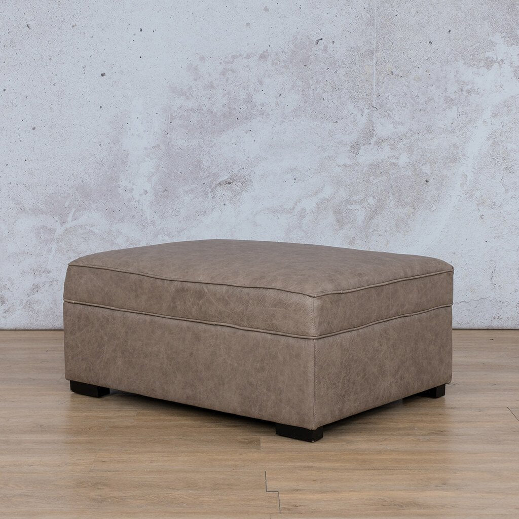 Arizona Leather Couch | Ottoman | Bedlam Taupe | Leather Gallery