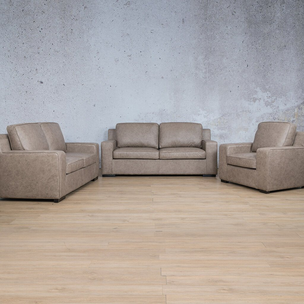 Arizona Leather Couch | 3+2+1 Suite | Bedlam Taupe | Leather Gallery