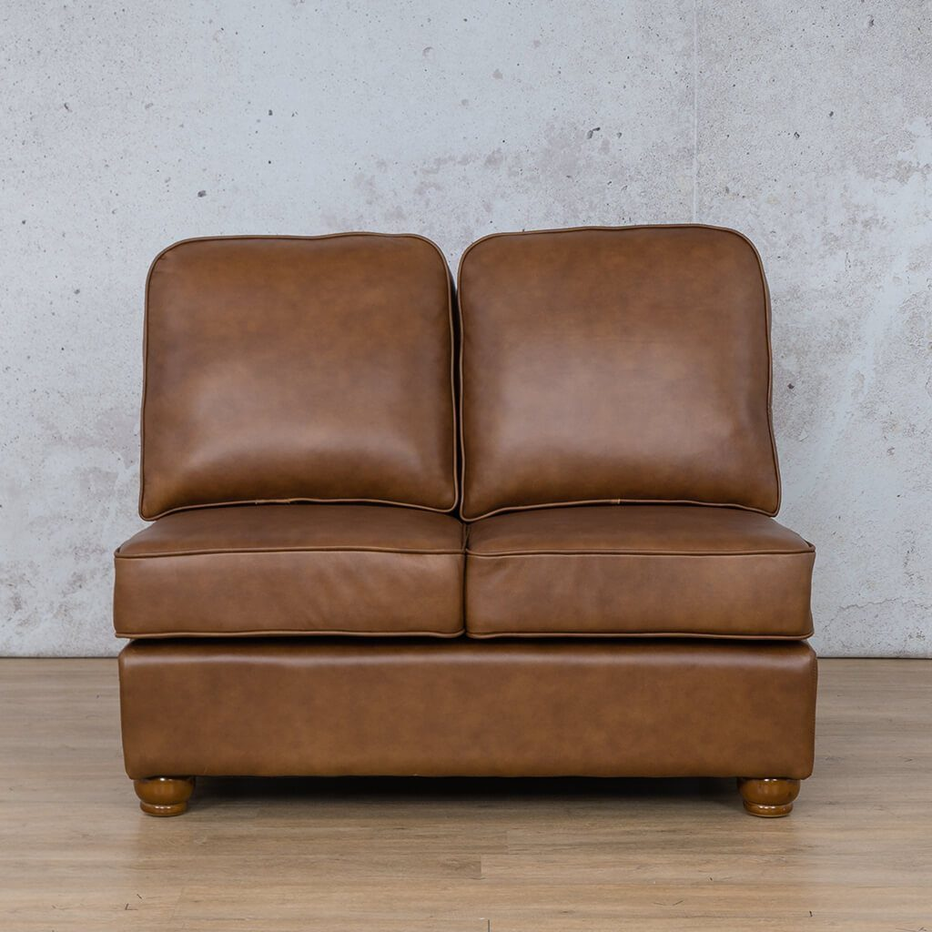 Salisbury Leather Corner Couch | Armless 2 Seater | Czar Pecan-S | Couches For Sale | Leather Gallery Couches