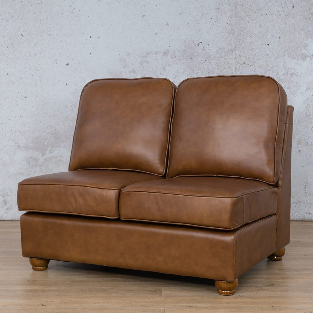 Salisbury Leather Corner Couch | Armless 2 Seater | Czar Pecan-S | Front Angled | Couches For Sale | Leather Gallery Couches