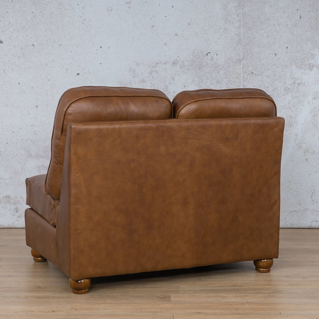 Salisbury Leather Corner Couch | Armless 2 Seater | Czar Pecan-S | Back Angled | Couches For Sale | Leather Gallery Couches