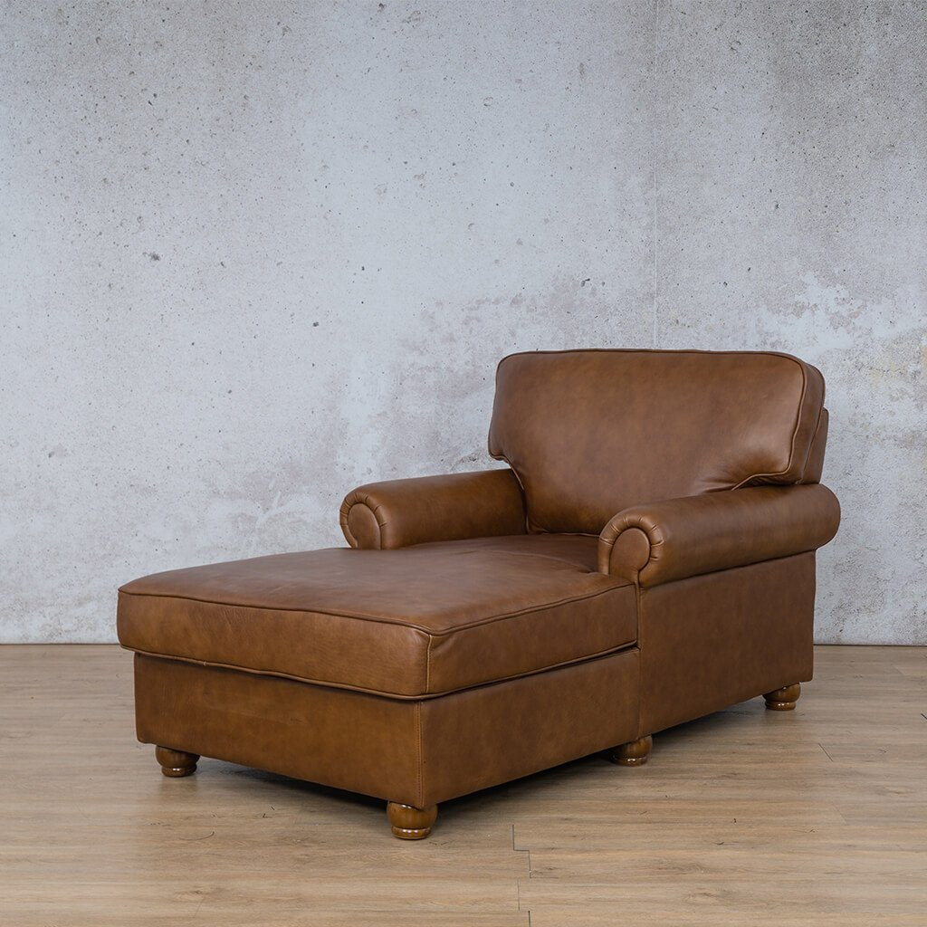Salisbury Leather Corner Couch | 2 Arm Chaise | Czar Pecan-S | Front Angled | Couches For Sale | Leather Gallery Couches
