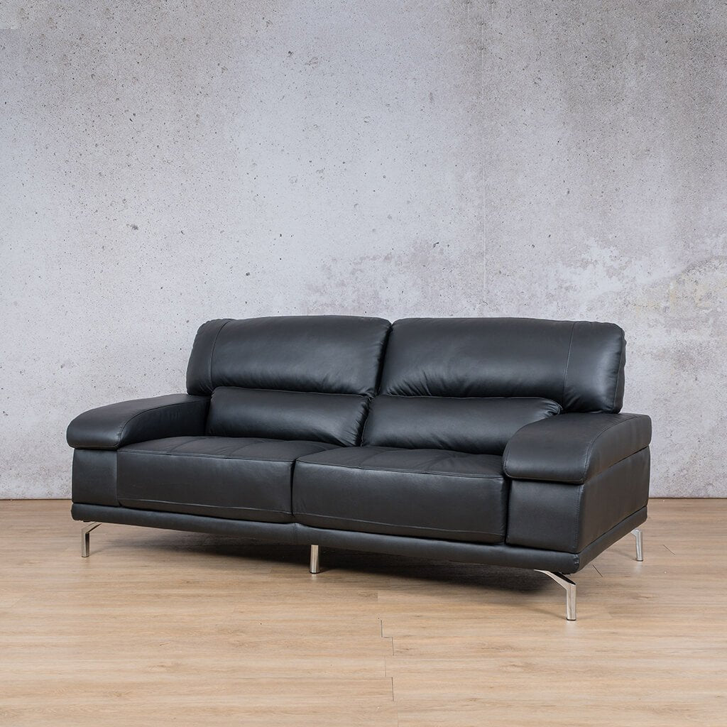 Adaline Leather Couch | 3 Seater Couch | Couches for Sale | Black-6 | Front Angled | Leather Gallery Couches