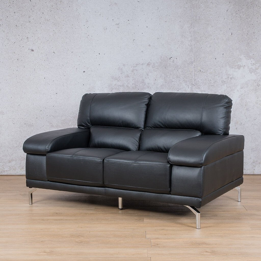 Adaline Leather Couch | 2 Seater Couch | Couches for Sale | Black-6 | Front Angled | Leather Gallery Couches