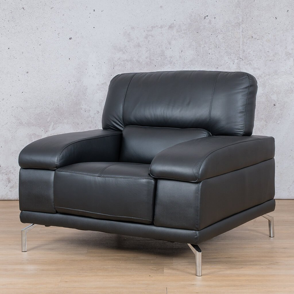 Adaline Leather Couch | 1 Seater Couch | Couches for Sale | Black-6 | Front Angled | Leather Gallery Couches
