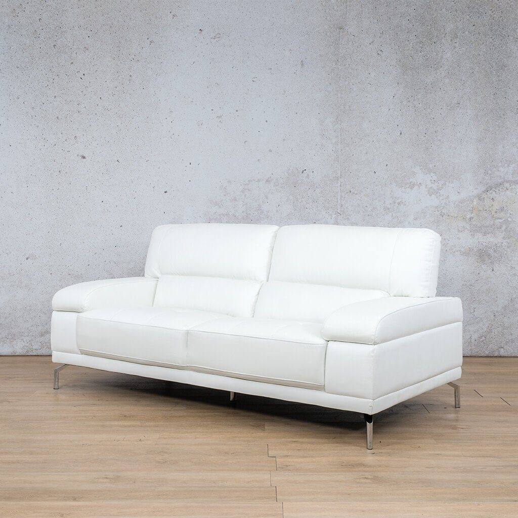 Adaline Leather Couch | 3 Seater Couch | Couches for Sale | White-6 | Front Angled | Leather Gallery Couches