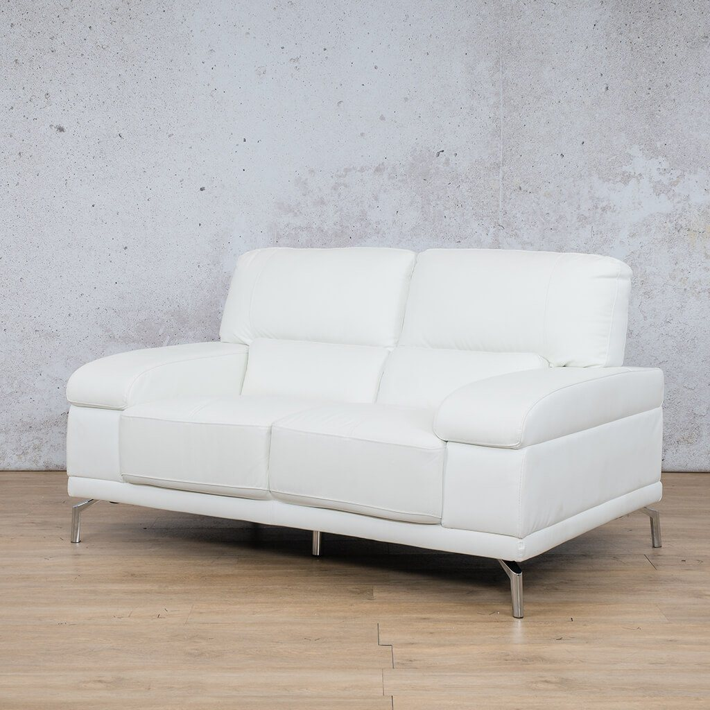 Adaline White 2 Seater Angled | Leather Gallery