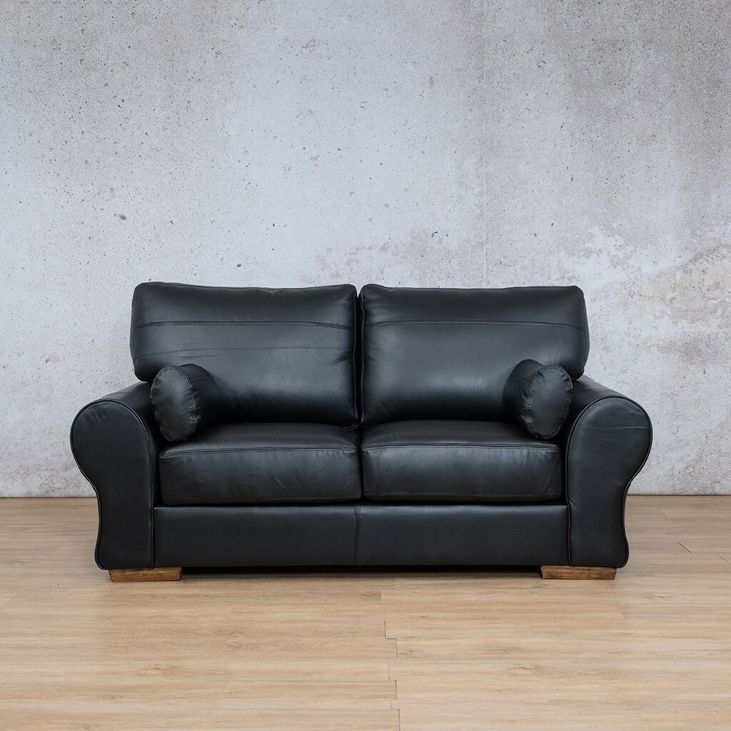 Carolina Leather Couch | 2 Seater | Czar Black | Leather Gallery