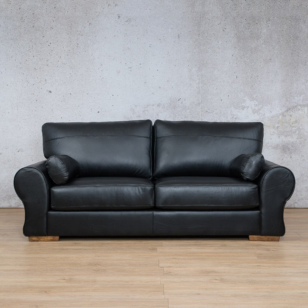 Carolina Leather Couch | 3 Seater | Czar Black | Leather Gallery