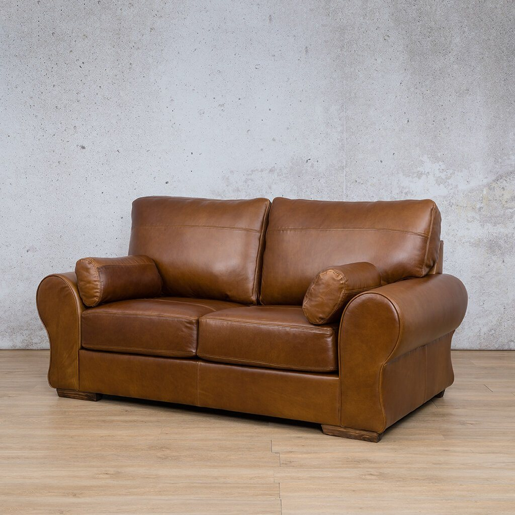 Carolina Leather Couch | 2 Seater Couch | Couches for Sale | Royal Walnut-C | Front Angled | Leather Gallery Couches