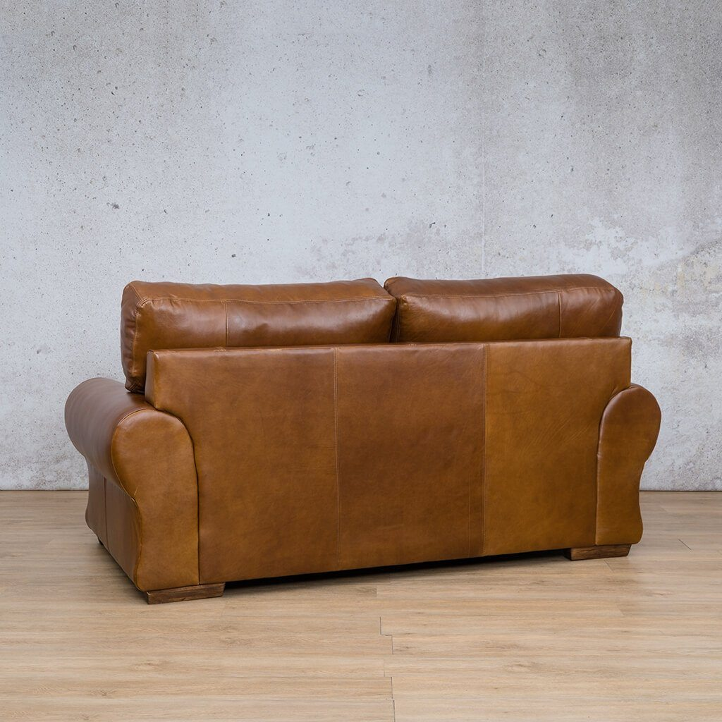 Carolina Leather Couch | 2 Seater Couch | Couches for Sale | Royal Walnut-C | Back Angled |  Leather Gallery Couches