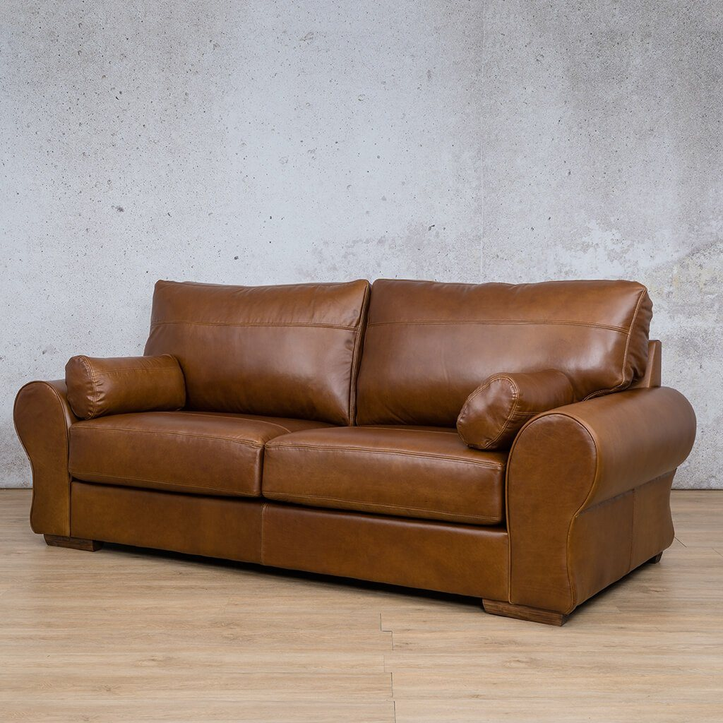 Carolina Leather Couch | 3 Seater Couch | Couches for Sale | Royal Walnut-C | Front Angled | Leather Gallery Couches