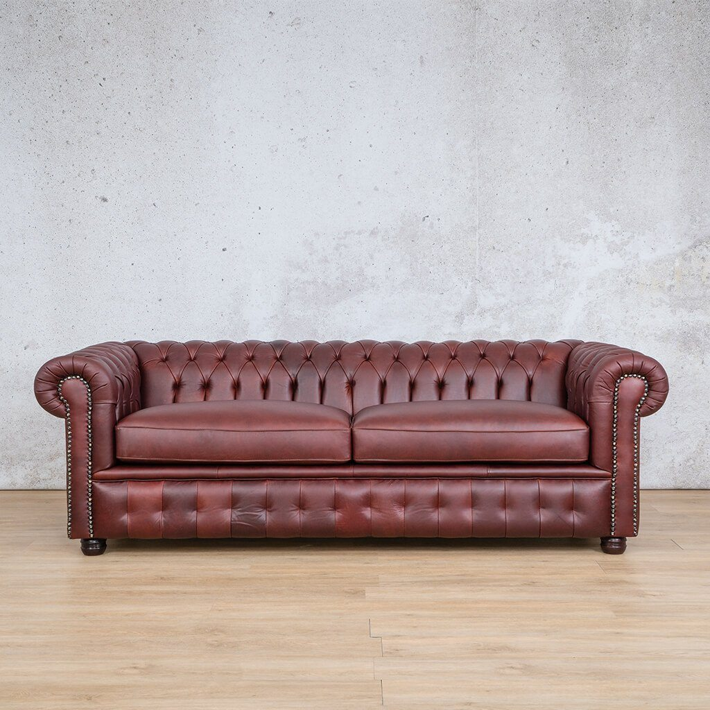 Chesterfield Leather Couch | 3 Seater | Regal Bordeaux | Leather Gallery