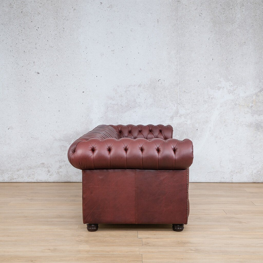Chesterfield Leather Couch | 3 seater couch | Regal Bordeaux-C | Side | Couches for Sale | Leather Gallery Couches