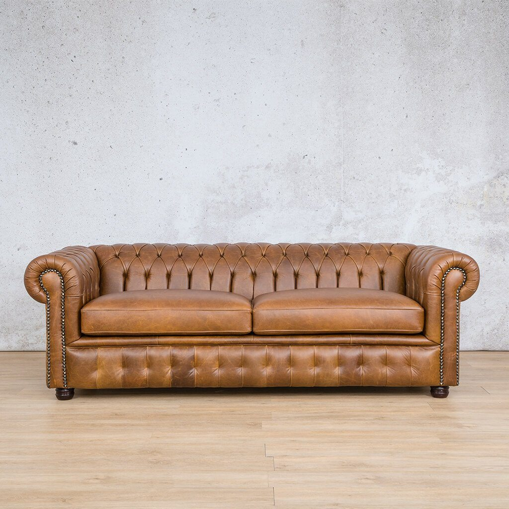 Chesterfield Leather Couch | 3 Seater | Regal Treacle | Leather Gallery