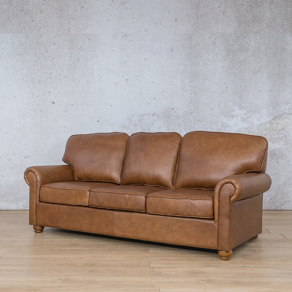 Salisbury Leather Couch | 3 seater couch | Czar Pecan-S | Front Angled | Couches for Sale | Leather Gallery Couches