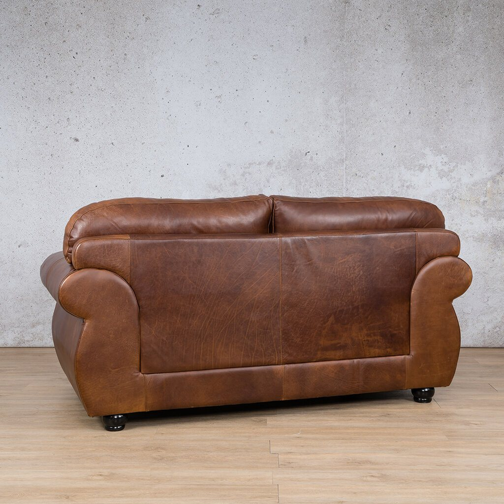 Isilo Leather Couch | 2 Seater Couch | Couches for Sale | Royal Walnut-A | Back Angled | Leather Gallery Couches