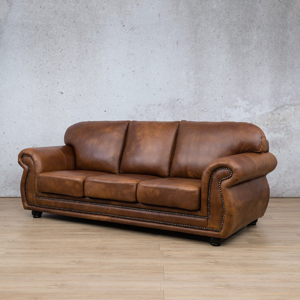 Isilo Leather Couch | 3 Seater Couch | Couches for Sale | Royal Walnut-A | Front Angled | Leather Gallery Couches