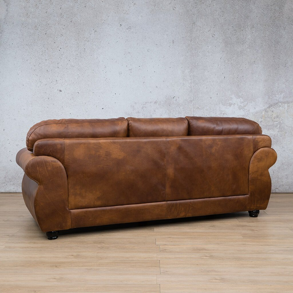 Isilo Leather Couch | 3 Seater Couch | Couches for Sale | Royal Walnut-A | Back Angled | Leather Gallery Couches