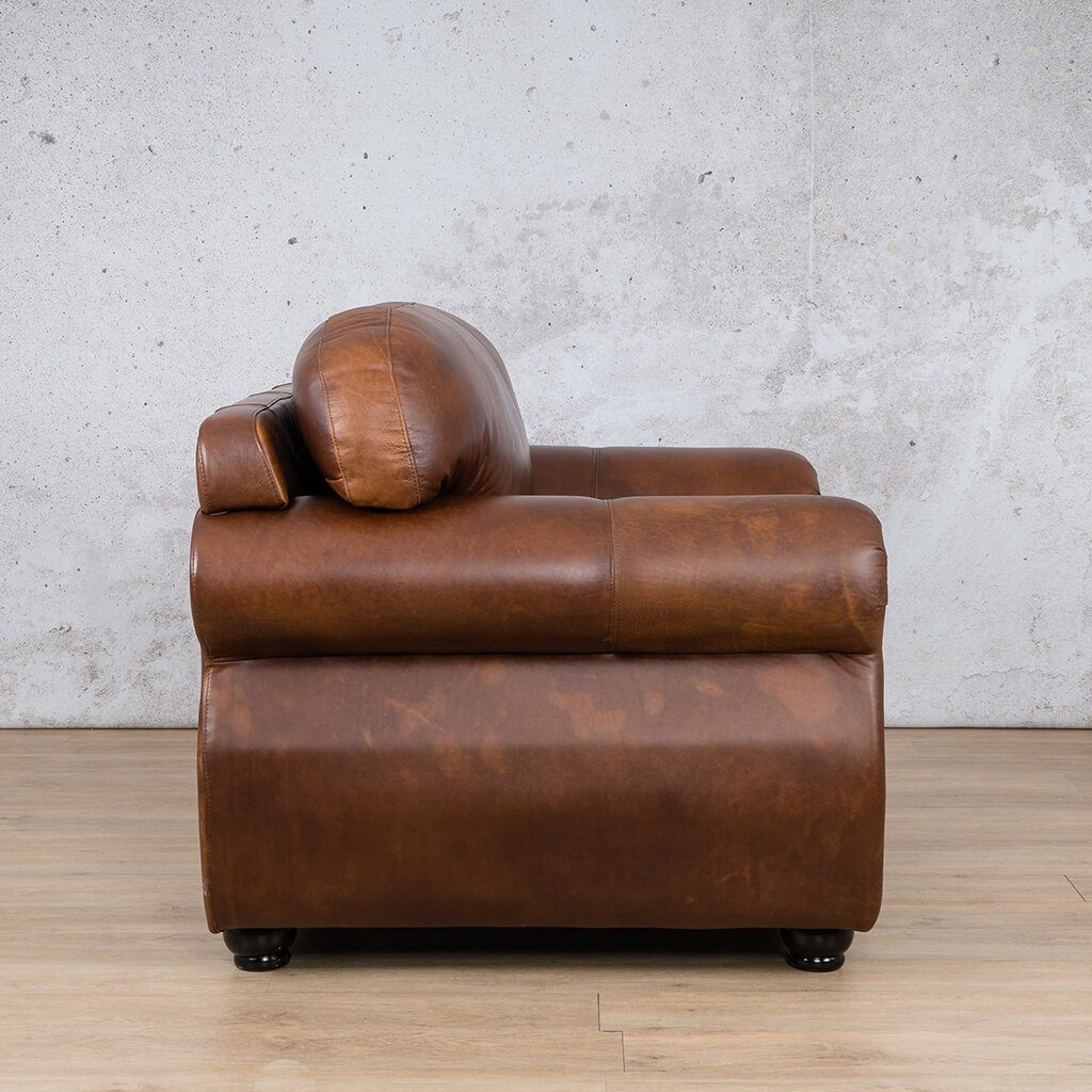 Isilo Leather Couch | 1 Seater Couch | Couches for Sale | Royal Walnut-A | Side | Leather Gallery Couches