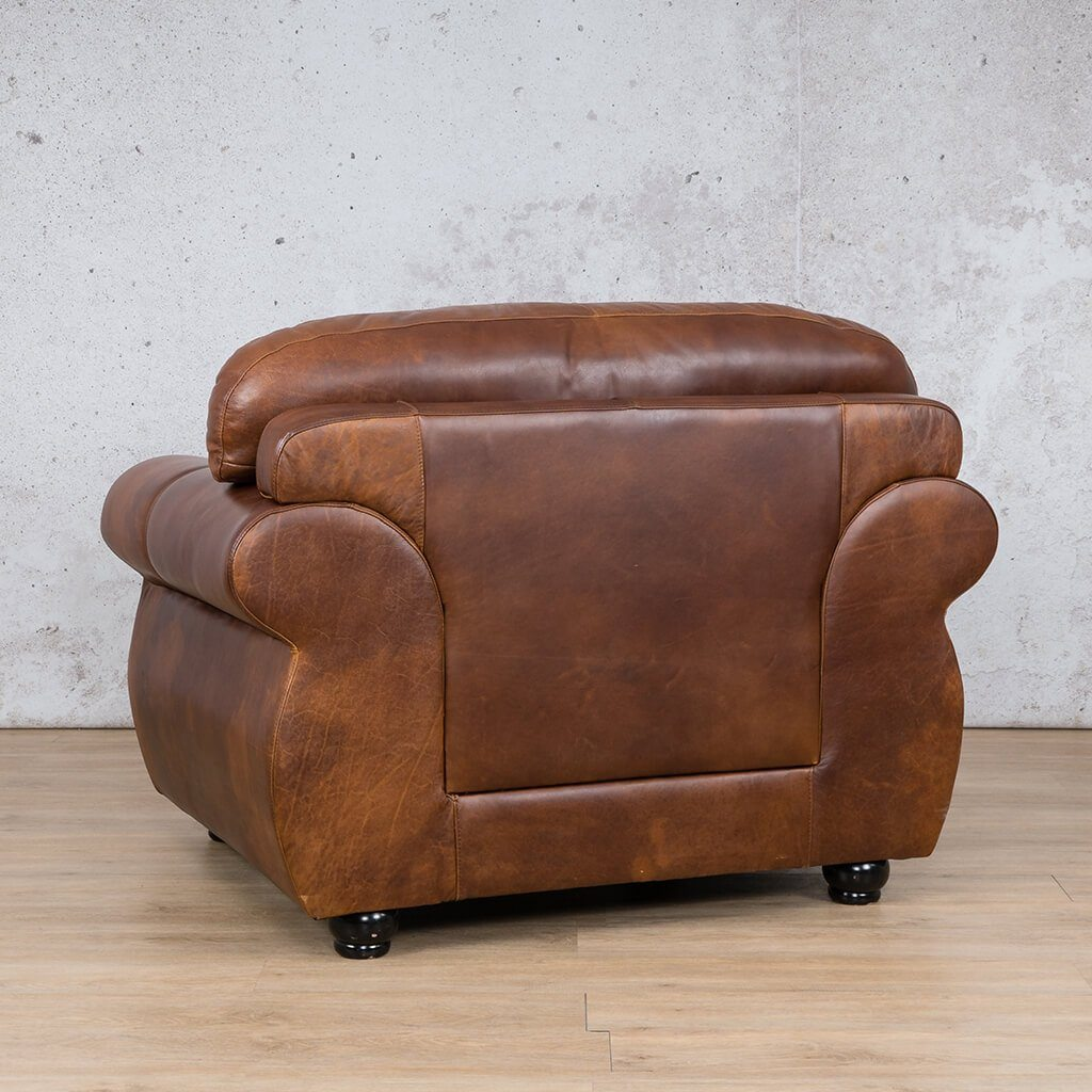 Isilo Leather Couch | 1 Seater Couch | Couches for Sale | Royal Walnut-A | Back Angled | Leather Gallery Couches