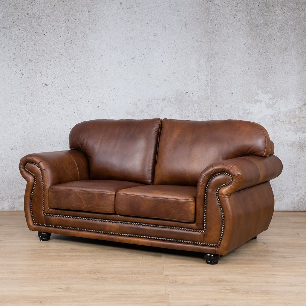Isilo Leather Couch | 2 Seater Couch | Couches for Sale | Royal Walnut-A | Front Angled | Leather Gallery Couches