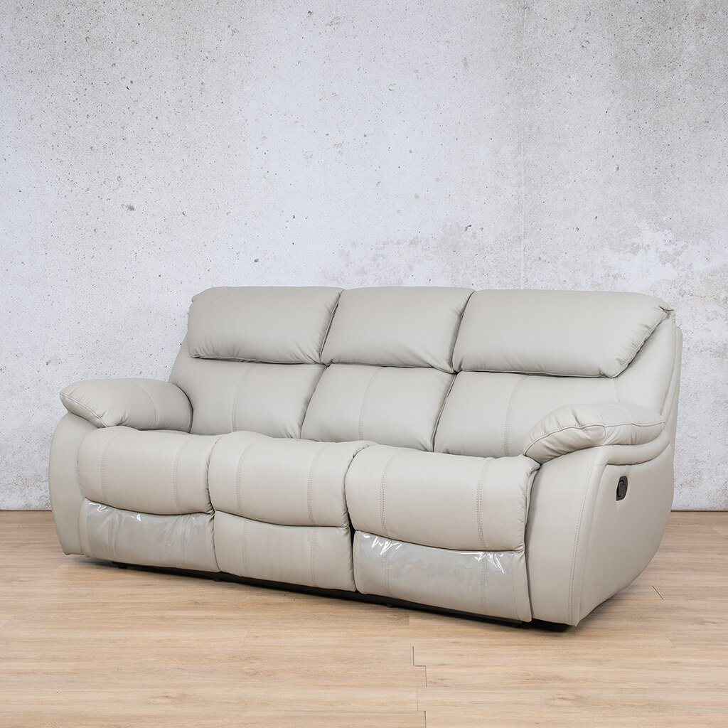 Cairo Leather Recliner Couch | 3 Seater Couch | Grey-K | Front Angled | Couches For Sale | Leather Gallery Couches