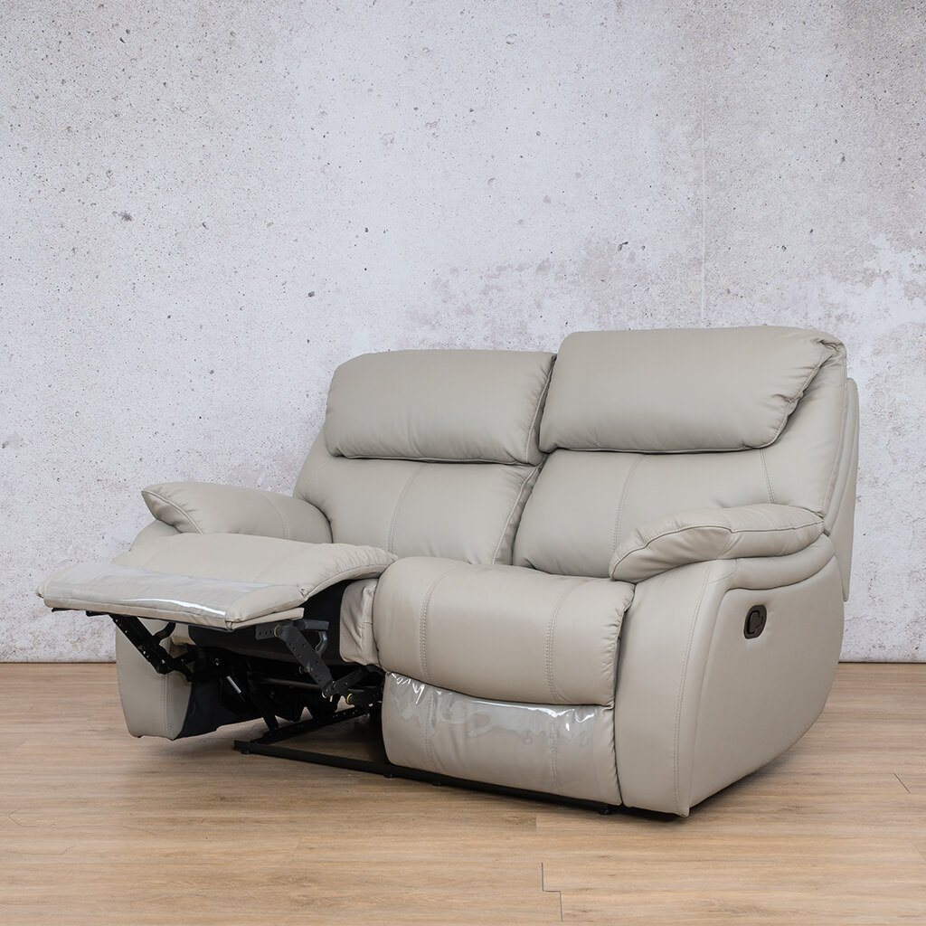 Cairo Leather Recliner Couch | 2 Seater Couch | Grey-K | Front Angled | Couches For Sale | Leather Gallery Couches