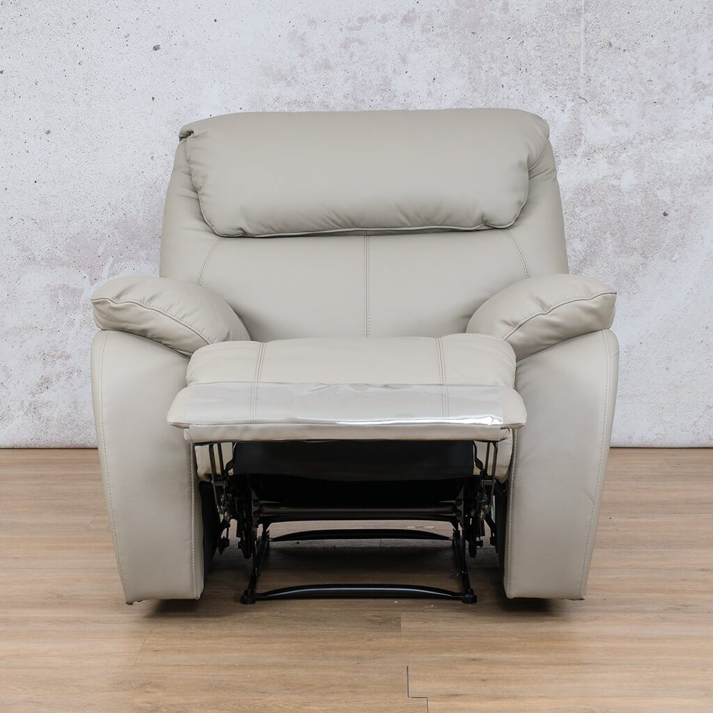 Cairo Leather Recliner Couch | 1 Seater Couch | Grey-K | Open | Couches For Sale | Leather Gallery Couches