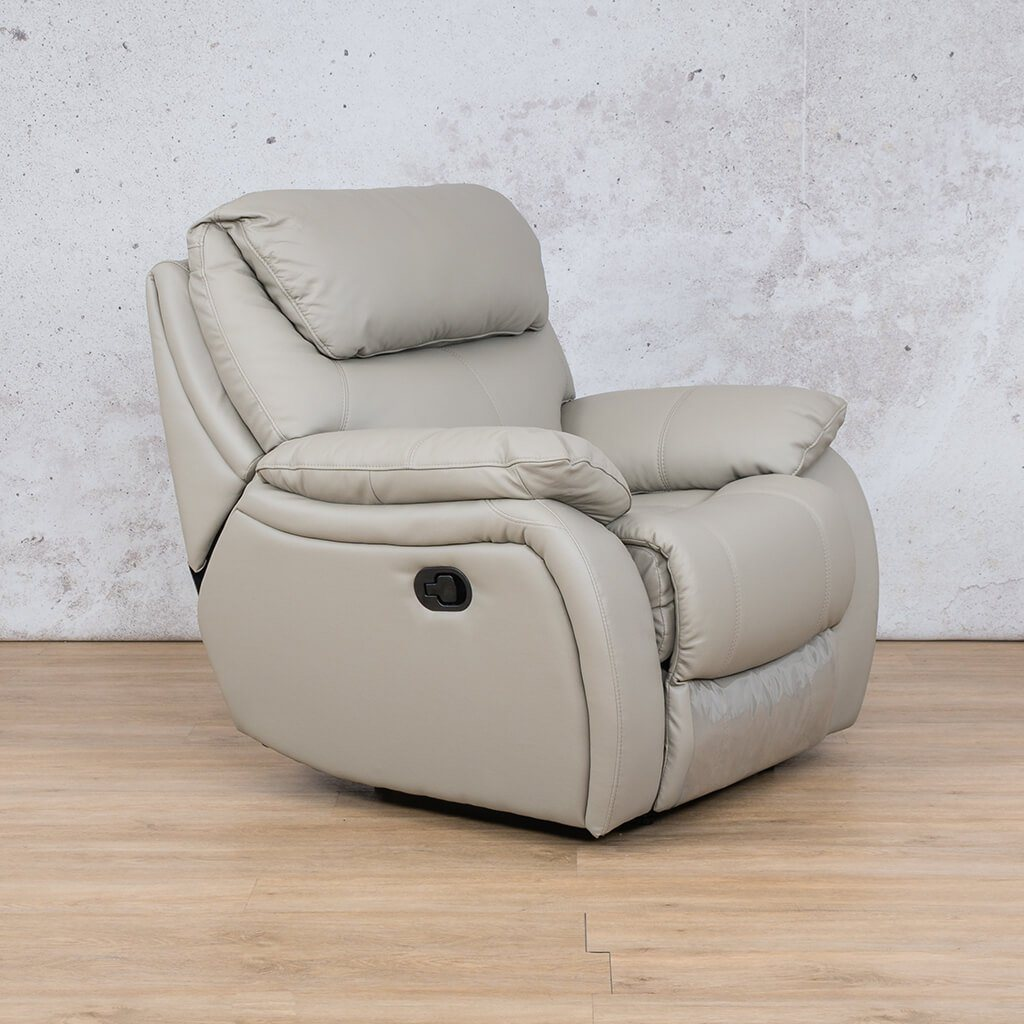 Cairo Leather Recliner Couch | 1 Seater Couch | Grey-K | Front Angled | Couches For Sale | Leather Gallery Couches