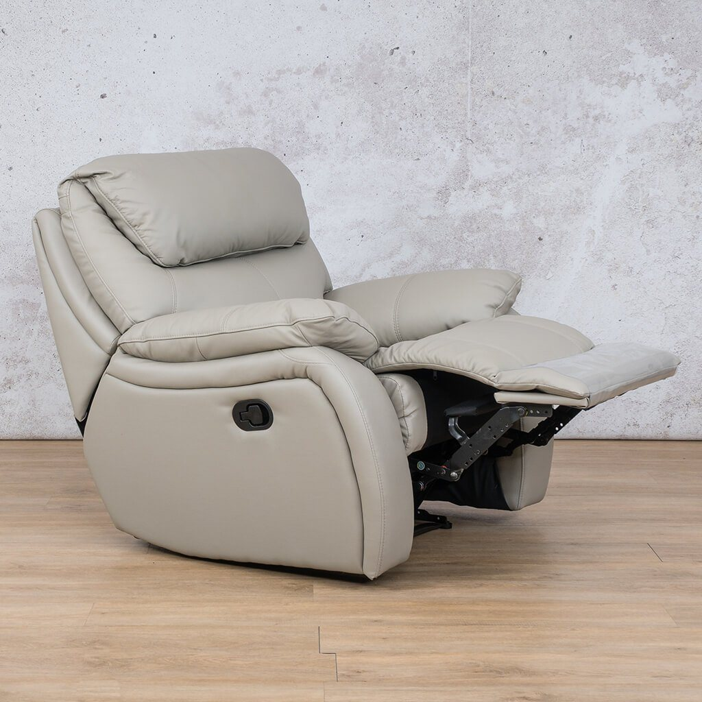 Cairo Leather Recliner Couch | 1 Seater Couch | Grey-K | Open Front Angled | Couches For Sale | Leather Gallery Couches
