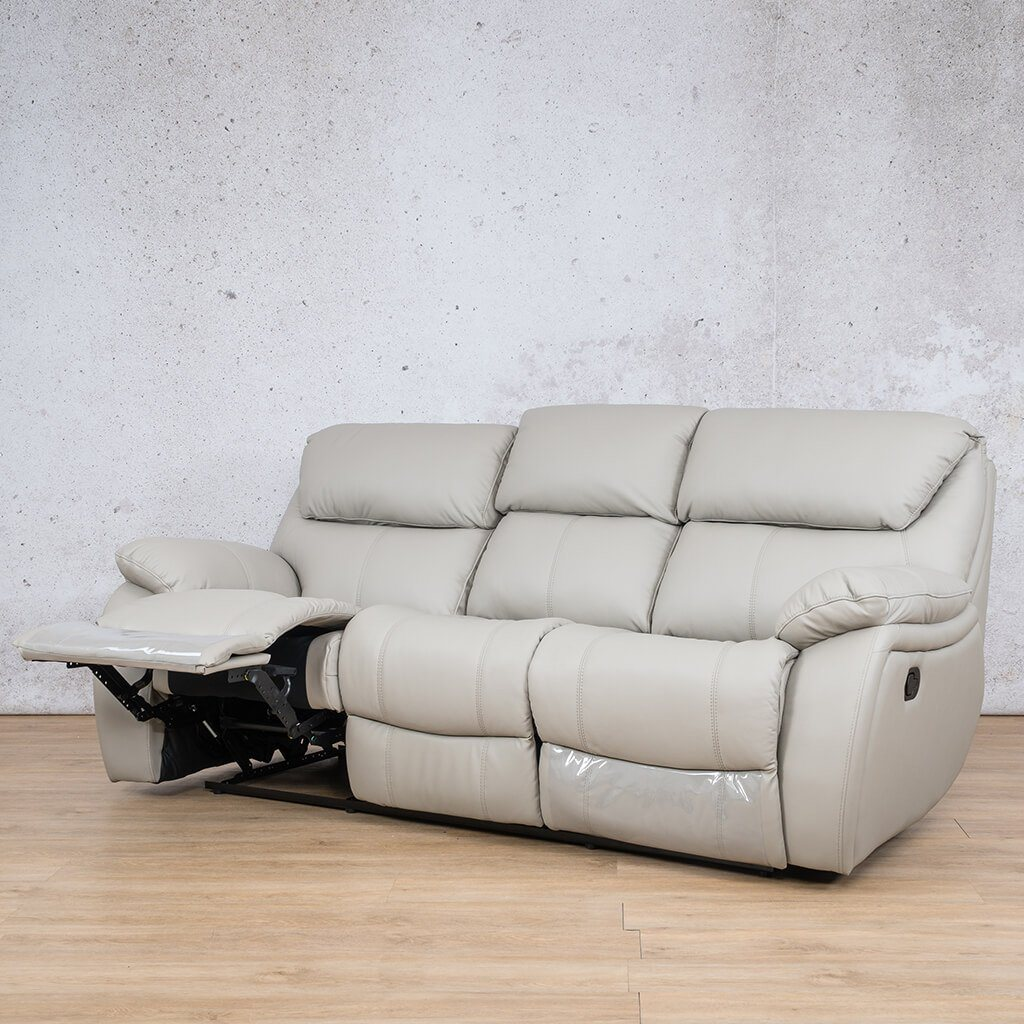 Cairo Leather Recliner Couch | 3 Seater Couch | Grey-K | Open Front Angled | Couches For Sale | Leather Gallery Couches
