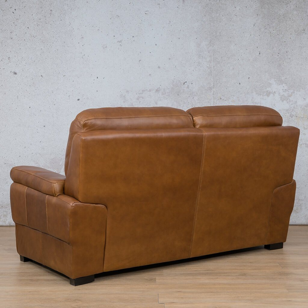 San Lorenze Leather Couch | 2 Seater Couch | Couches for Sale | Czar Pecan-S | Back Angled | Leather Gallery Couches